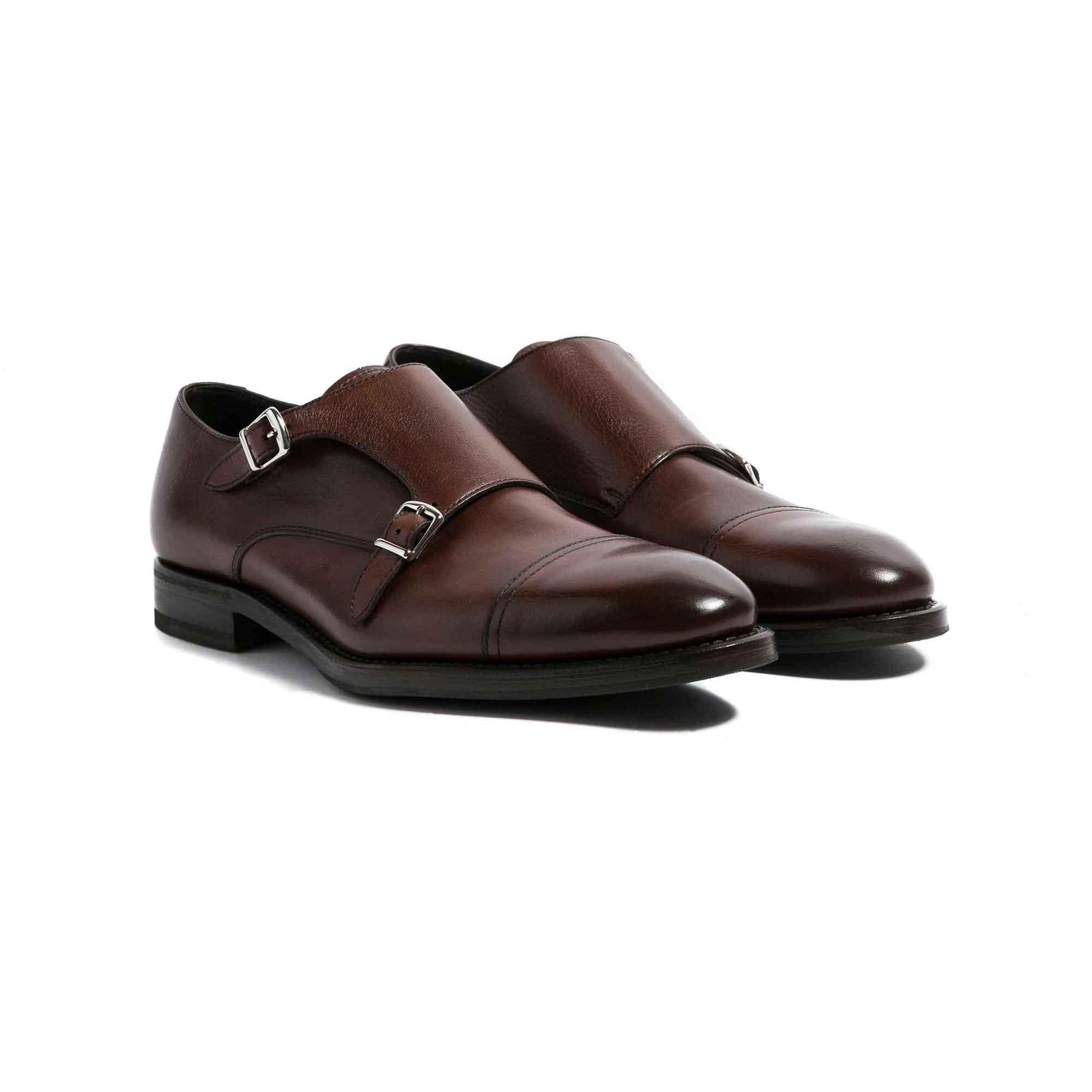 Zapatos double monk café