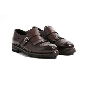 Zapato monk fleco brogue café
