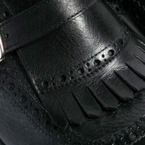 Zapato monk fleco brogue negro