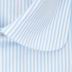 Camisa rayas azul y blanco cuello redondo