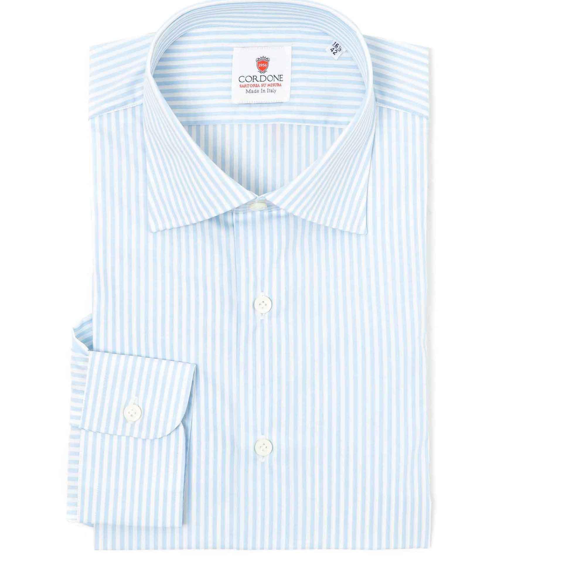 Camisa rayas medianas azul y blanco cuello francés