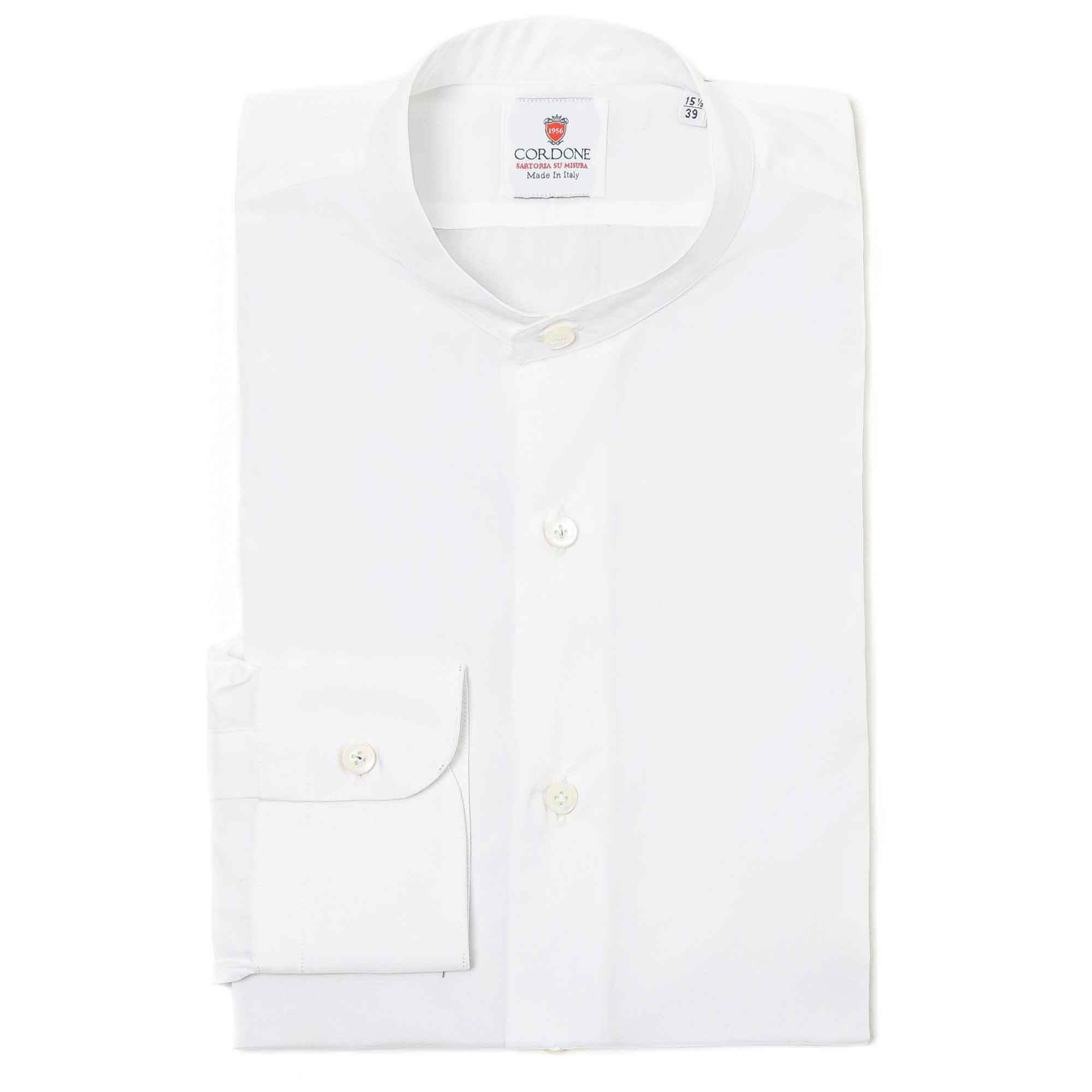 Camisa lisa blanca cuello Mao