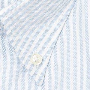 Camisa Oxford rayas azul y blanco cuello americano