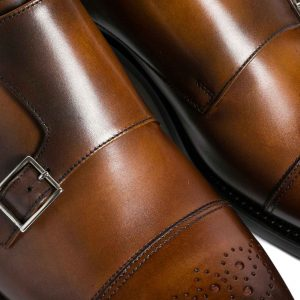 Zapatos double monk café brogue