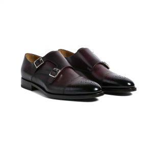 Zapatos double monk vino brogue