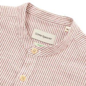 Camisa cuello Mao rayas rojo y blanco