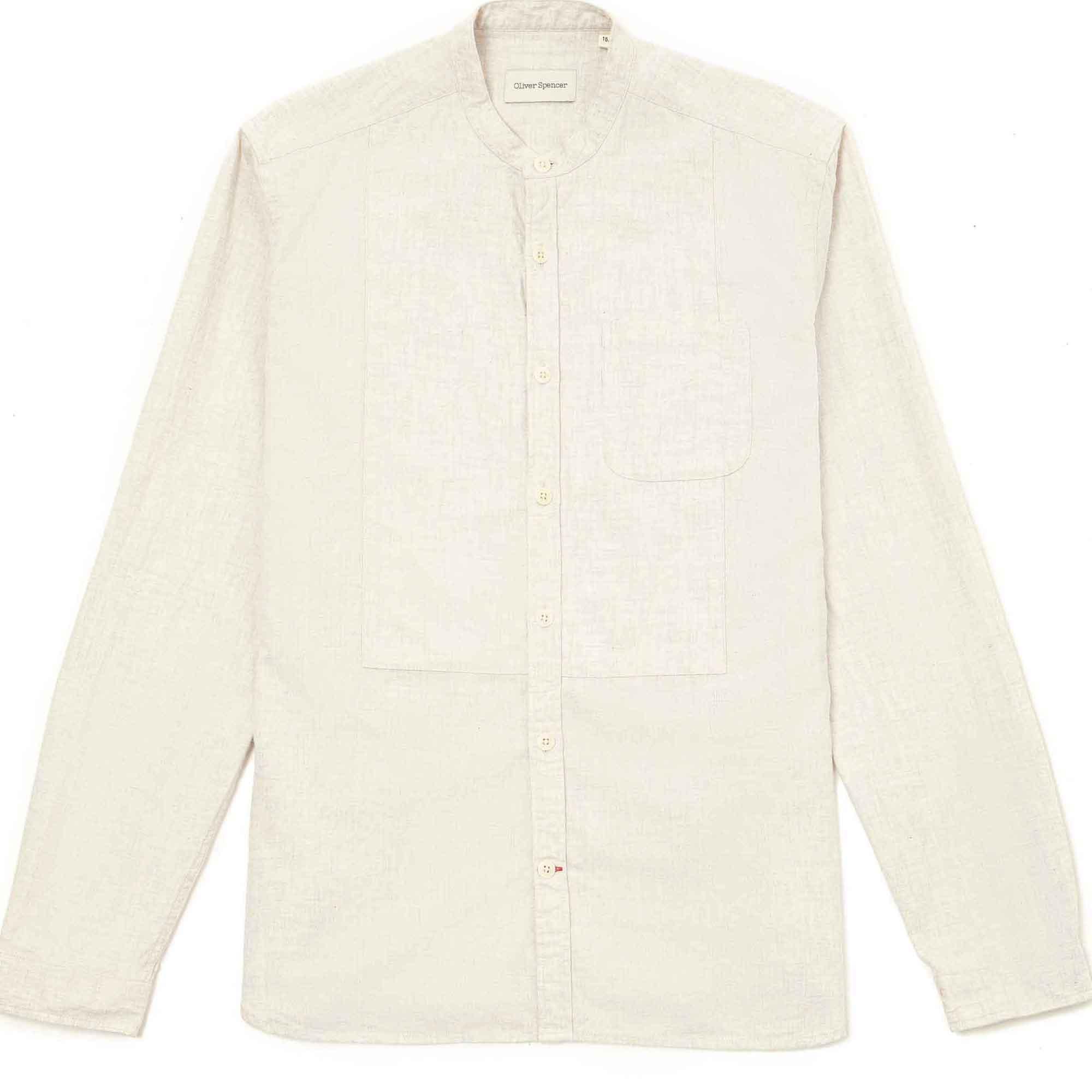 Camisa cuello Mao arena