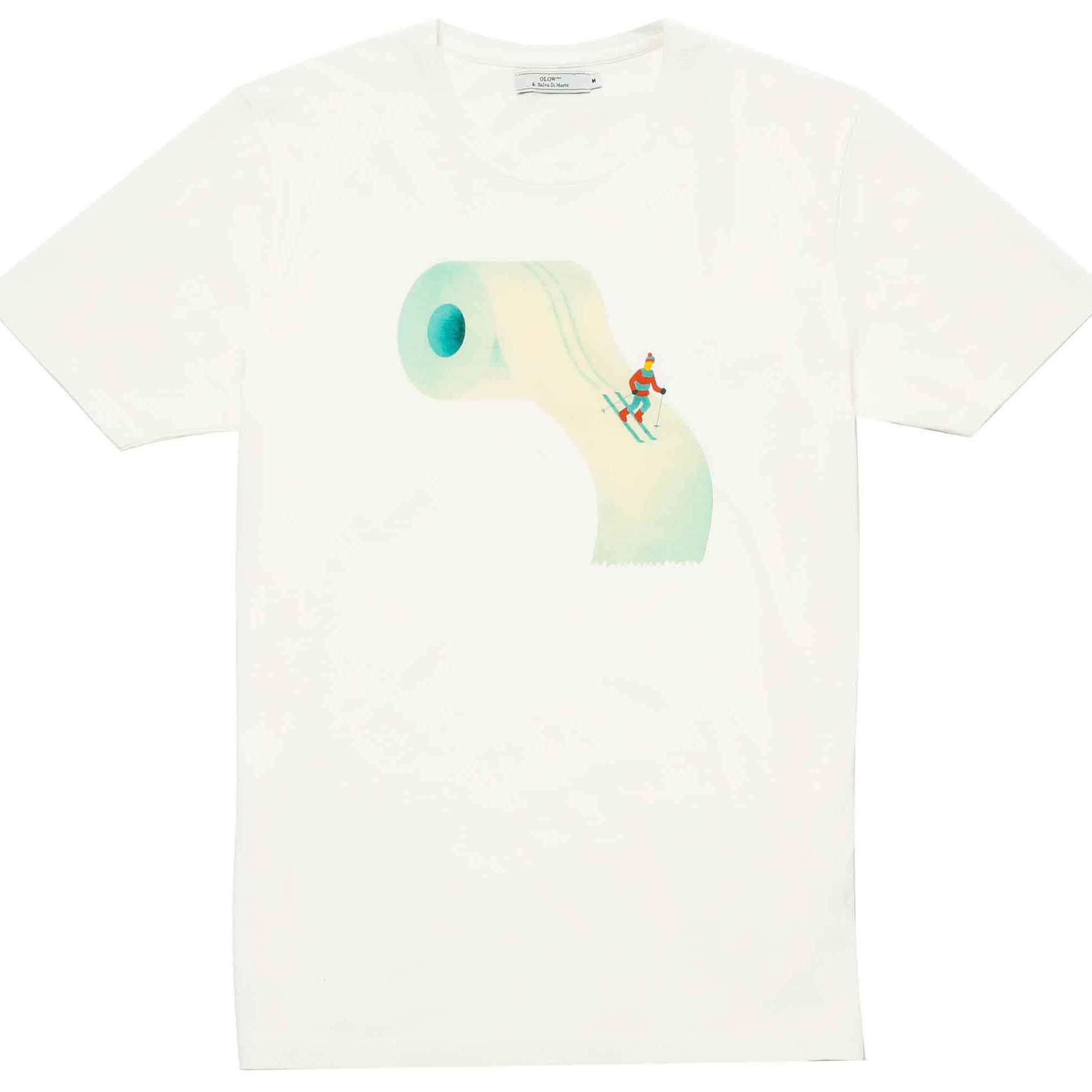 T-shirt papel de baño y esquiador