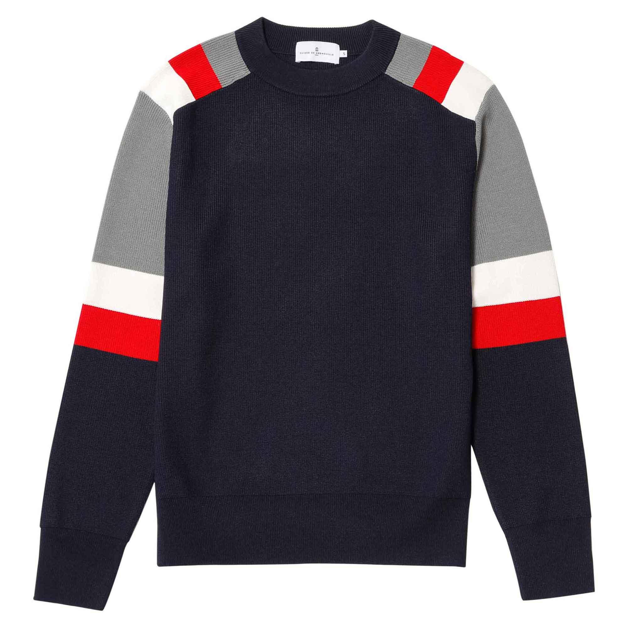 Suéter tricolor azul