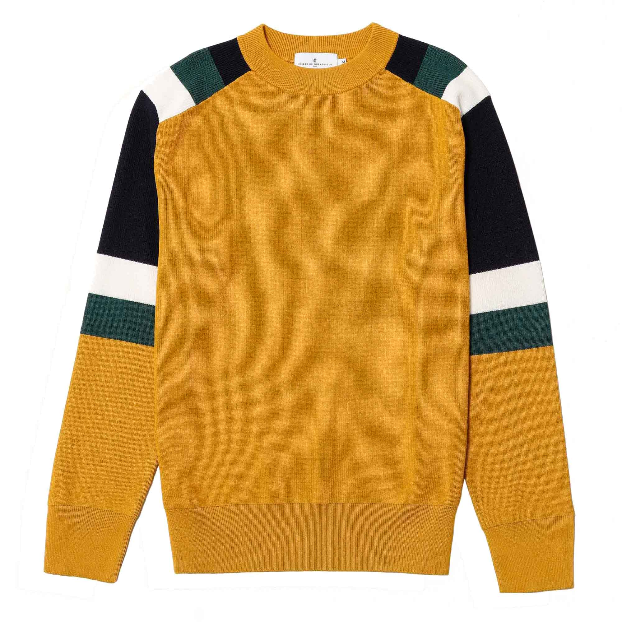 Suéter tricolor mostaza