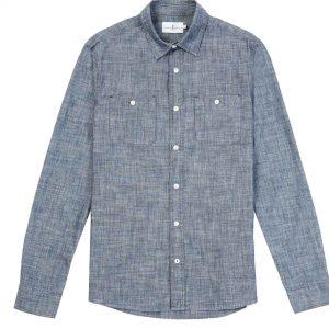 Camisa mezclilla dos bolsas azul jaspeado